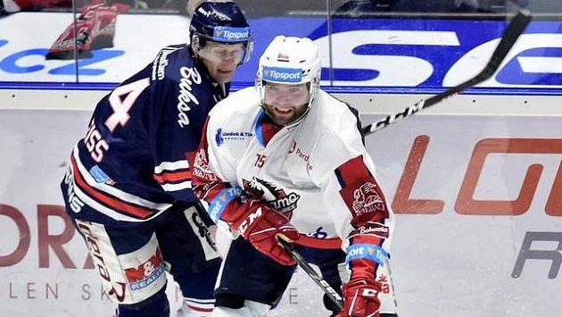 Zleva Jan Schleiss z Vítkovic a Marek Trončinský z Pardubic.