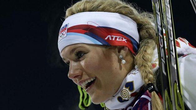 Gabriela Soukalová, stříbrná olympijská medailistka v závodu biatlonistek na 12,5 km s hromadným startem.