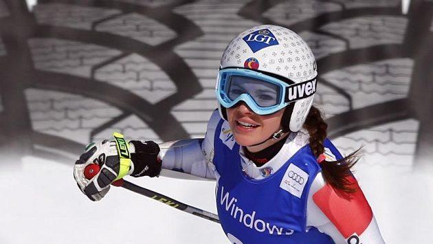Tina Weiratherová z Lichtenštejnska během super-G v Ga-Pa.