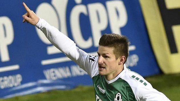 Václav Pilař z Jablonce se raduje z gólu.