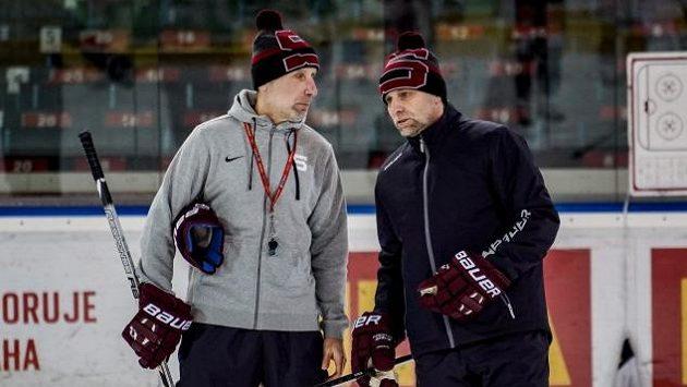 Trenéři hokejové Sparty Miloslav Hořava (vlevo) s Josefem Jandačem.