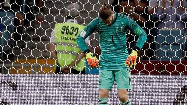Španělský gólman David De Gea po chybě, která vedla k druhému gólu Portugalců.