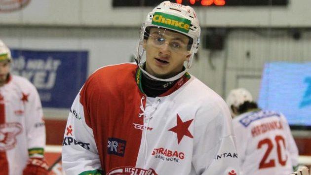 Útočník Slavie Jaroslav Brož se připravuje na zápas první ligy.