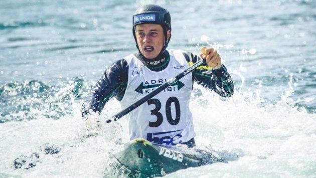 Kanoista Matyáš Lhota při finále mistrovství Evropy v Tacenu.