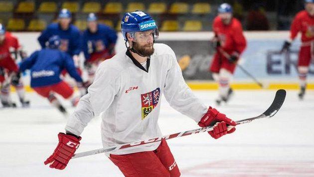Obránce Michal Jordán na tréninku hokejové reprezentace.