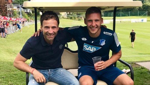 Pavel Kadeřábek (vpravo) na soustředění Hoffenheimu se svým agentem Viktorem Kolářem.