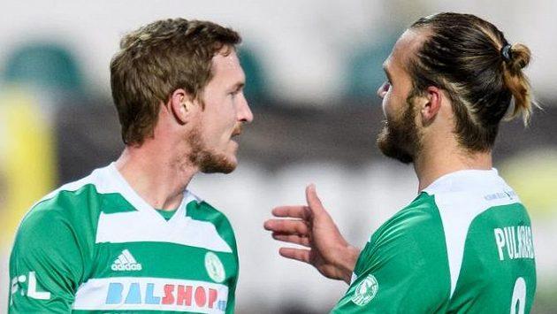 Fotbalisté Bohemians Petr Hronek (vlevo) a Matěj Pulkrab.