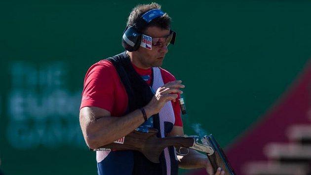 Střelec David Kostelecký na snímku z Evropských her v Minsku, kde v trapu získal zlatou medaili.