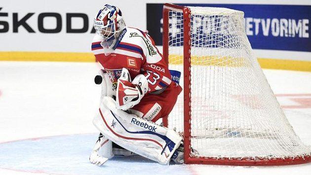 Brankář Alexander Salák v dresu české reprezentace.