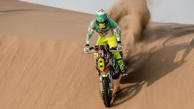 Český motocyklový závodník Ondřej Klymčiw na letošní Rallye Dakar.