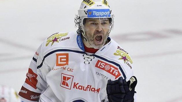 Jaromír Jágr se raduje z gólu proti Liberci.