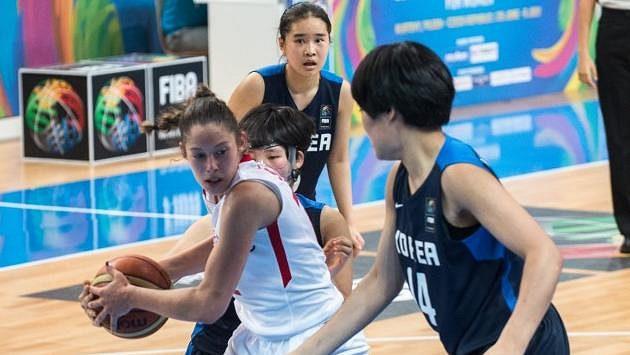 Z úvodního vystoupení mladých českých basketbalistek proti Koreji.