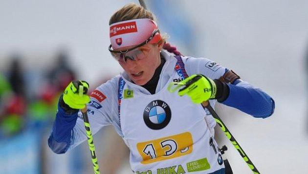 Slovenská biatlonistka Terézia Poliaková během únorového Světového poháru ve slovinské Pokljuce.