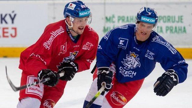 Útočník Jiří Černoch (vlevo) a obránce David Sklenička na tréninku české hokejové reprezentace.
