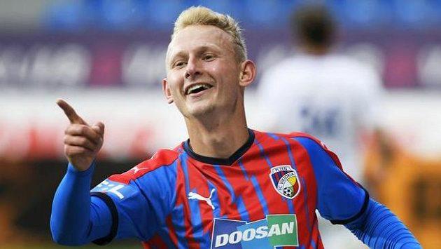 Ondřej Mihálik se raduje z gólu Plzně v ligovém zápase s Mladou Boleslaví.