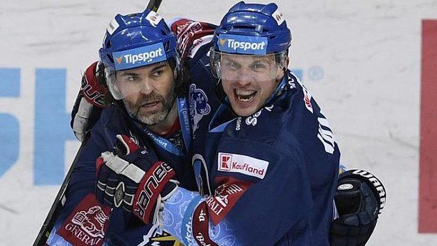 Hráči Kladna Jaromír Jágr (vlevo) a Petr Vampola.