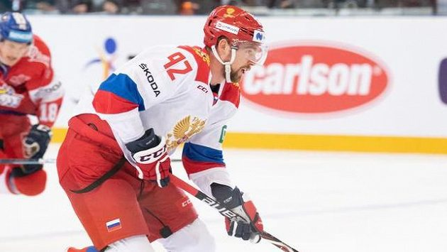 Jevgenij Kuzněcov v dresu ruské hokejové reprezentace.