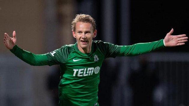 Jan Chramosta z Jablonce oslavuje gól proti Plzni.