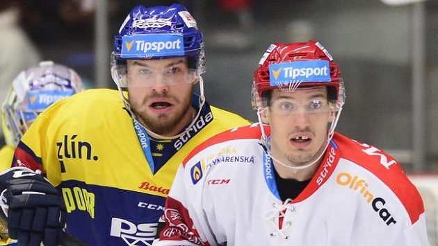 Zlínský Pavel Sedláček (vlevo) a Juraj Bezúch z Hradce Králové.