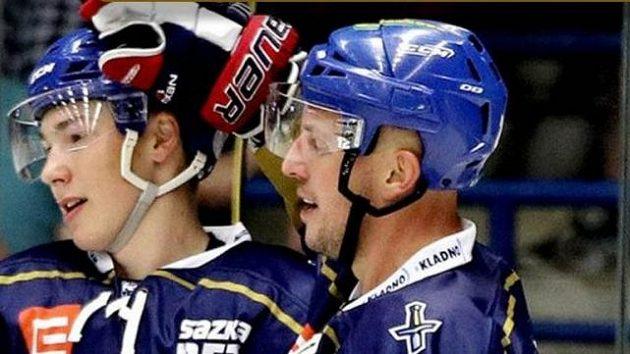Radost kladenských hokejistů v duelu s Benátkama.