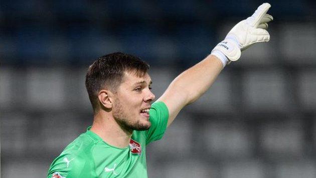 Český brankář Aleš Mandous během utkáním Ligy národů se Skotskem.