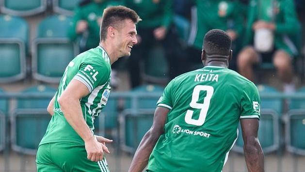 Daniel Krch z Bohemians oslavuje gól na 2:1 během utkání s Teplicemi.
