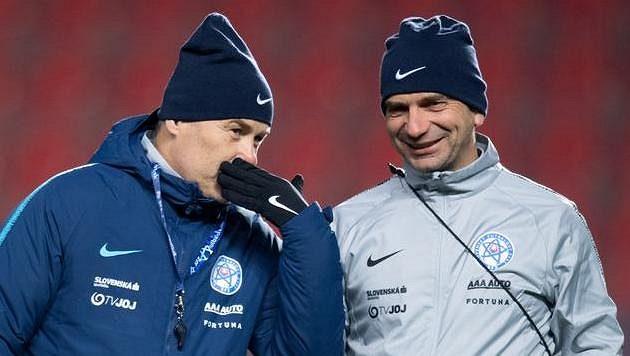 Trenér slovenské reprezentace Pavel Hapal (vlevo) a jeho osvědčený asistent Oto Brunegraf.