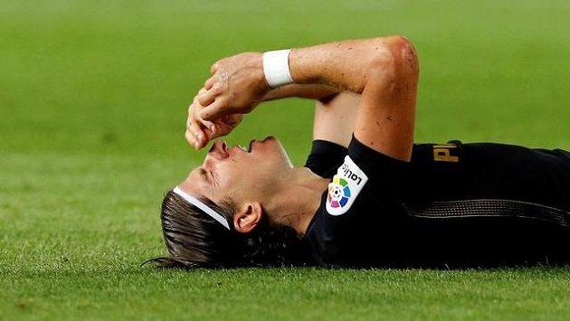 Filipe Luis z Atlétika Madrid při utkání s Barcelonou.