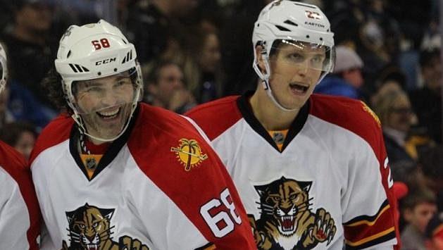 Hokejisté Jaromír Jágr a Nick Bjugstad spolu váleli v NHL za Floridu Panthers.