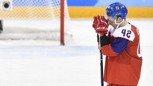 Český reprezentant Petr Koukal po prohraném utkání o bronz.