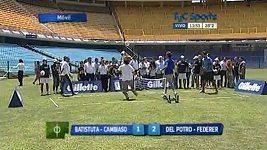 Batistuta, Federer a Del Potro hrají nohejbal