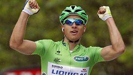 Nezvyklá oslava triumfu cyklisty Petera Sagana