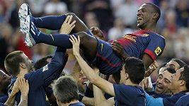 Loučení Abidala s hráči Barcelony.