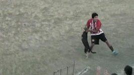 Fotbalista chytil psa, který se zaběhl na hřiště, a hodil ho na ochranný plot