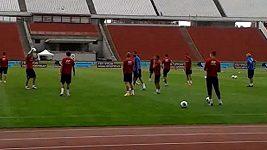 Trénink fotbalové reprezentace v Budapešti