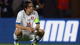 Trenér Bílek a kapitán Rosický před zápasem v Itálii