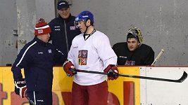 Jaromír Jágr na tréninku hokejové reprezentace v Letňanech.