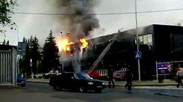 Požár na hokejovém stadionu v Doněcku
