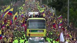 Přivítání kolumbijských fotbalistů po návratu z MS