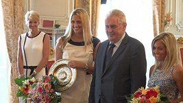 Prezident Zeman přijal wimbledonskou vítězku Kvitovou