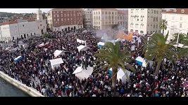 Fanoušci protestovali ve Splitu