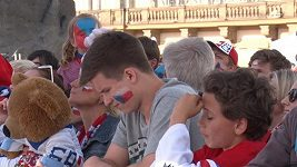 Fanoušci fandili na Staroměstském náměstí při zápase o bronz