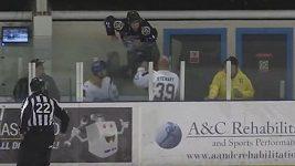 Rozzuřený hokejista lezl přes plexisklo