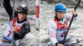Srovnání jízd Kateřiny Kudějové (v černé helmě) a Štěpánky Hilgertové ve Veltrusích pomocí programu Dartfish.