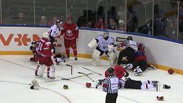 Rvačka v přípravném utkání Lotyšsko - Bělorusko