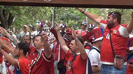 Fanoušci Česka a Chorvatska před zápasem v Saint Étienne
