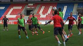 Trénink plzeňských fotbalistů před duelem s AS Řím