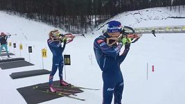 Gabriela Koukalová při tréninku s Michalem Krčmářem