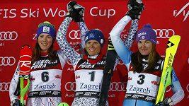 Šárka Strachová byla třetí ve slalomu SP v Záhřebu