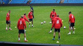 Trénink norských fotbalistů před kvalifikací s Českem